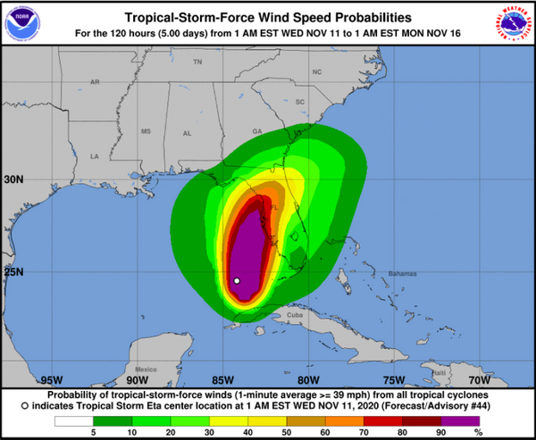 Hurricane Watch for Florida Wednesday to Friday